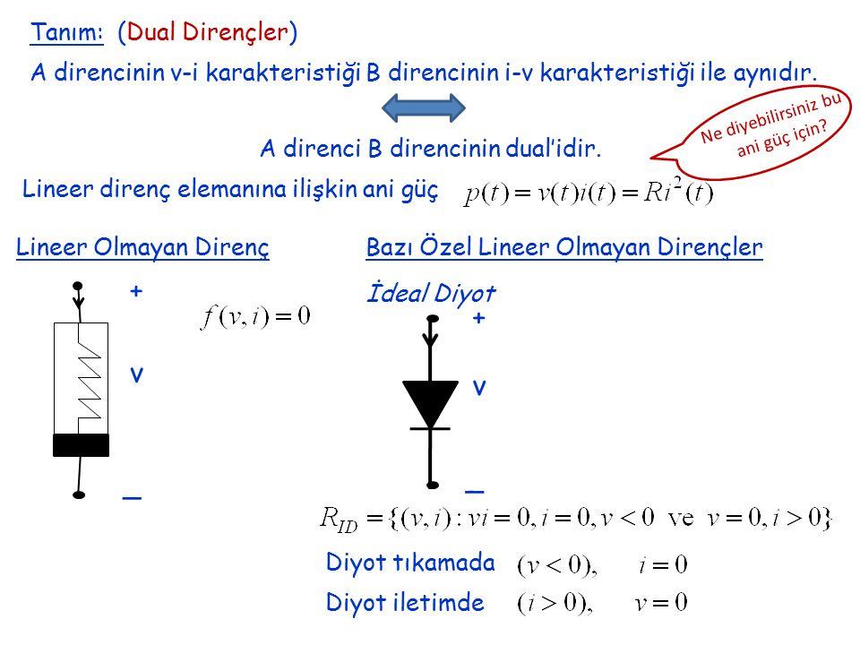 Tanım: (Dual Dirençler) A direncinin v-i karakteristiği B direncinin i-v karakteristiği ile aynıdır. A direnci B direncinin dual'idir. Lineer direnç e