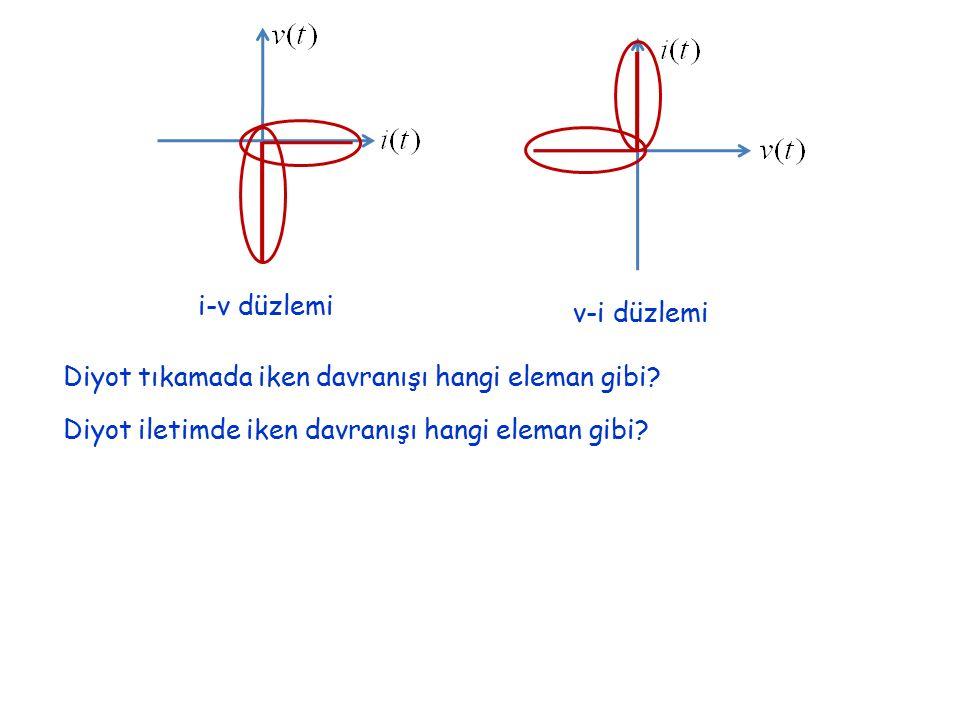 i-v düzlemi v-i düzlemi Diyot tıkamada iken davranışı hangi eleman gibi.