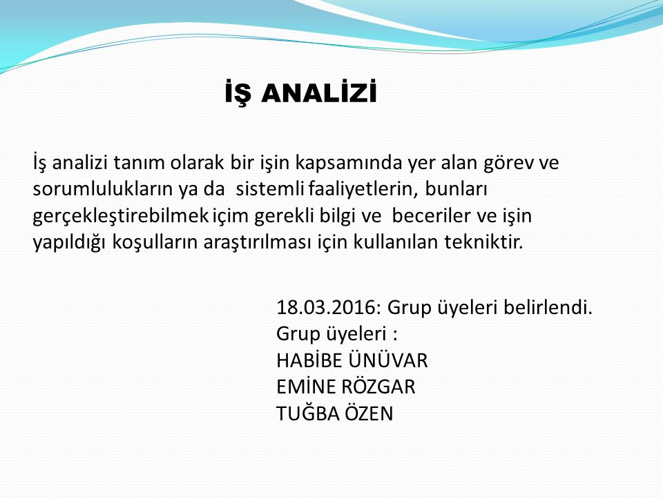 İŞ ANALİZİ 18.03.2016: Grup üyeleri belirlendi.