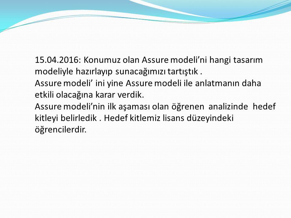 15.04.2016: Konumuz olan Assure modeli'ni hangi tasarım modeliyle hazırlayıp sunacağımızı tartıştık.