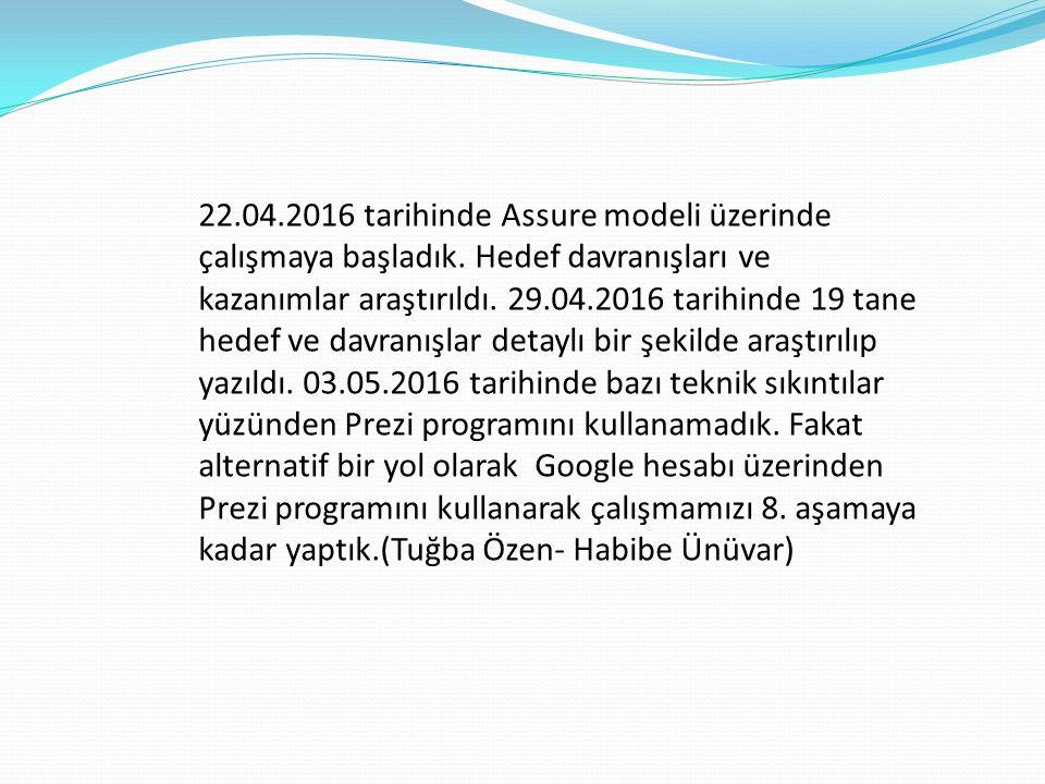 22.04.2016 tarihinde Assure modeli üzerinde çalışmaya başladık.
