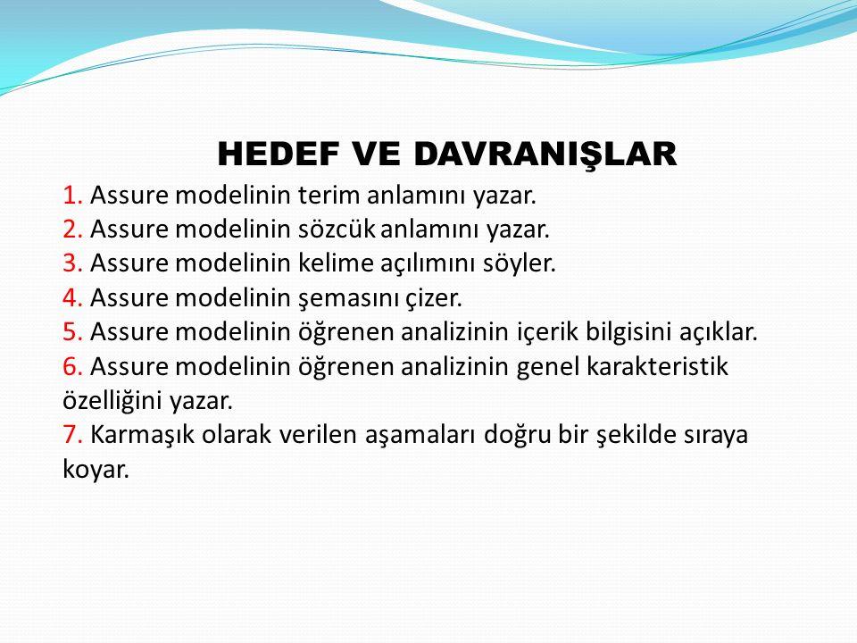 HEDEF VE DAVRANIŞLAR 1. Assure modelinin terim anlamını yazar.