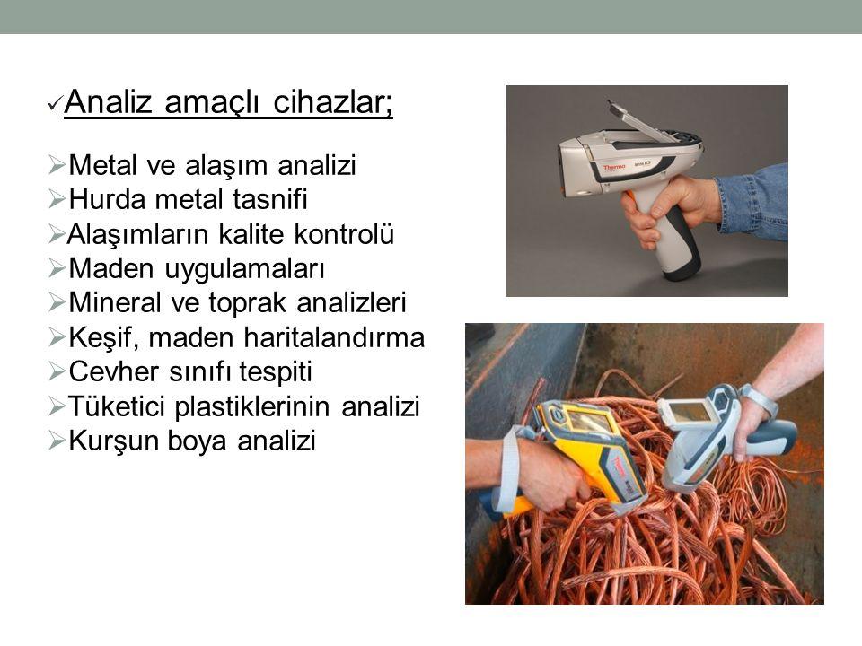 Analiz amaçlı cihazlar;  Metal ve alaşım analizi  Hurda metal tasnifi  Alaşımların kalite kontrolü  Maden uygulamaları  Mineral ve toprak analizleri  Keşif, maden haritalandırma  Cevher sınıfı tespiti  Tüketici plastiklerinin analizi  Kurşun boya analizi