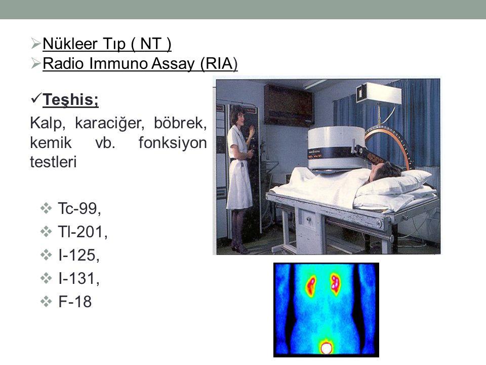  Nükleer Tıp ( NT )  Radio Immuno Assay (RIA) Teşhis; Kalp, karaciğer, böbrek, kemik vb.