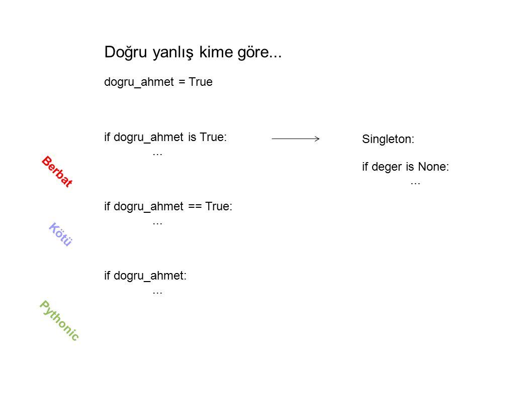Doğru yanlış kime göre... dogru_ahmet = True if dogru_ahmet is True:...