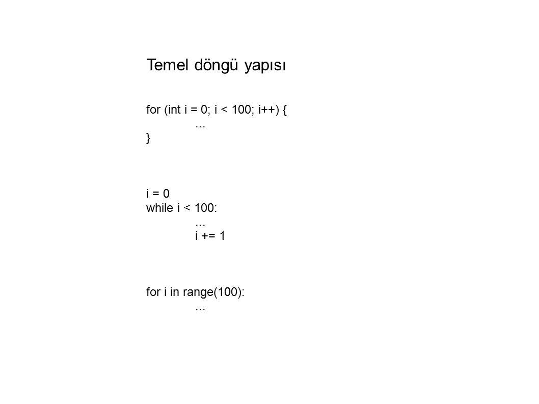 Temel döngü yapısı for (int i = 0; i < 100; i++) {...