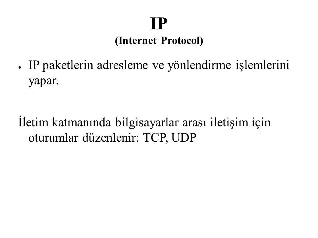 IP (Internet Protocol) ● IP paketlerin adresleme ve yönlendirme işlemlerini yapar. İletim katmanında bilgisayarlar arası iletişim için oturumlar düzen