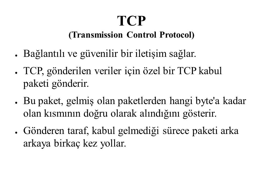 TCP (Transmission Control Protocol) ● Bağlantılı ve güvenilir bir iletişim sağlar. ● TCP, gönderilen veriler için özel bir TCP kabul paketi gönderir.