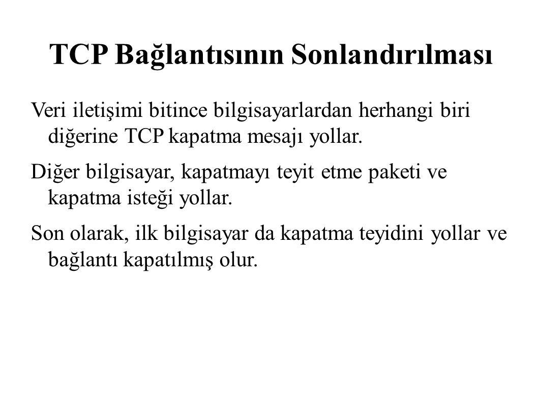 TCP Bağlantısının Sonlandırılması Veri iletişimi bitince bilgisayarlardan herhangi biri diğerine TCP kapatma mesajı yollar. Diğer bilgisayar, kapatmay
