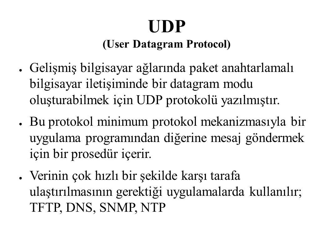 UDP (User Datagram Protocol) ● Gelişmiş bilgisayar ağlarında paket anahtarlamalı bilgisayar iletişiminde bir datagram modu oluşturabilmek için UDP pro