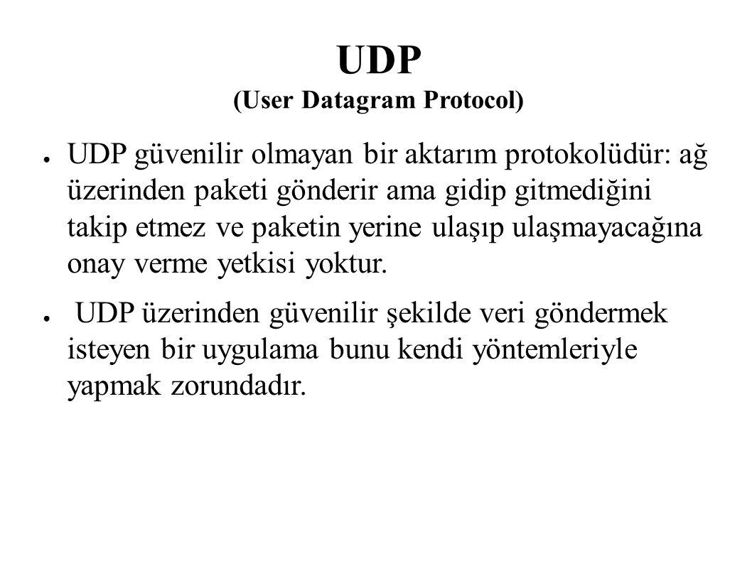 UDP (User Datagram Protocol) ● UDP güvenilir olmayan bir aktarım protokolüdür: ağ üzerinden paketi gönderir ama gidip gitmediğini takip etmez ve paket