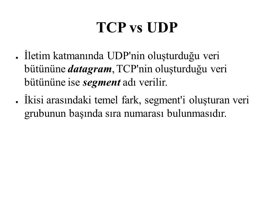TCP vs UDP ● İletim katmanında UDP'nin oluşturduğu veri bütününe datagram, TCP'nin oluşturduğu veri bütününe ise segment adı verilir. ● İkisi arasında