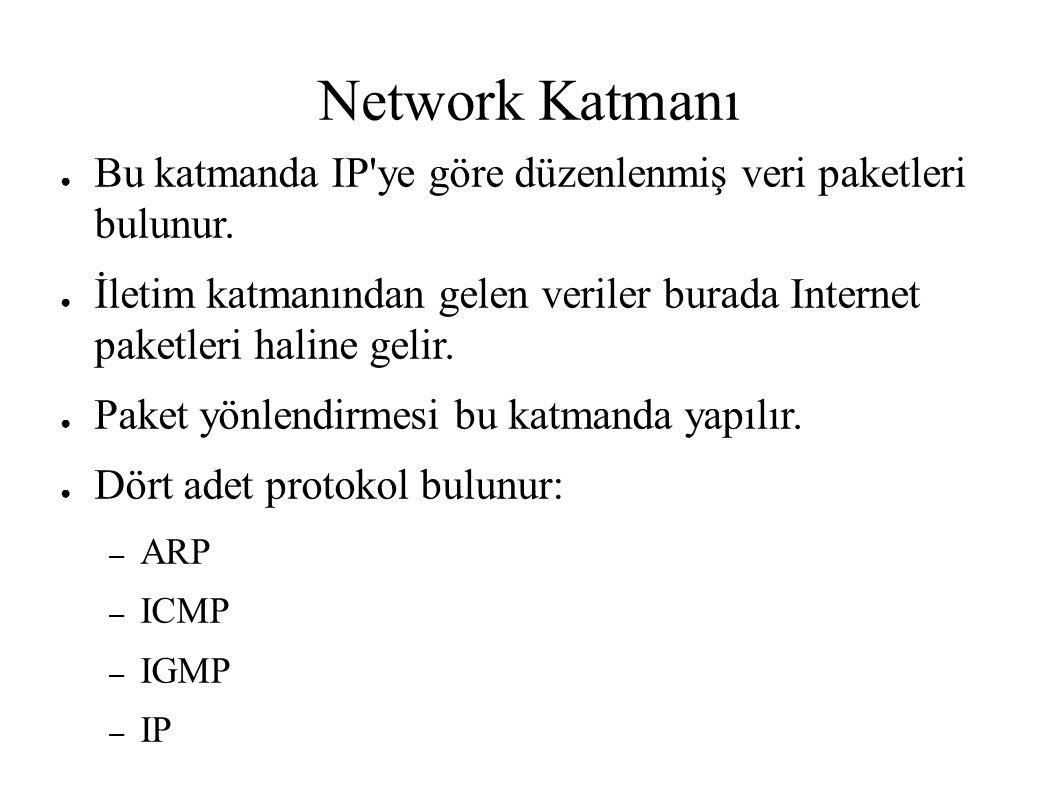 Network Katmanı ● Bu katmanda IP'ye göre düzenlenmiş veri paketleri bulunur. ● İletim katmanından gelen veriler burada Internet paketleri haline gelir