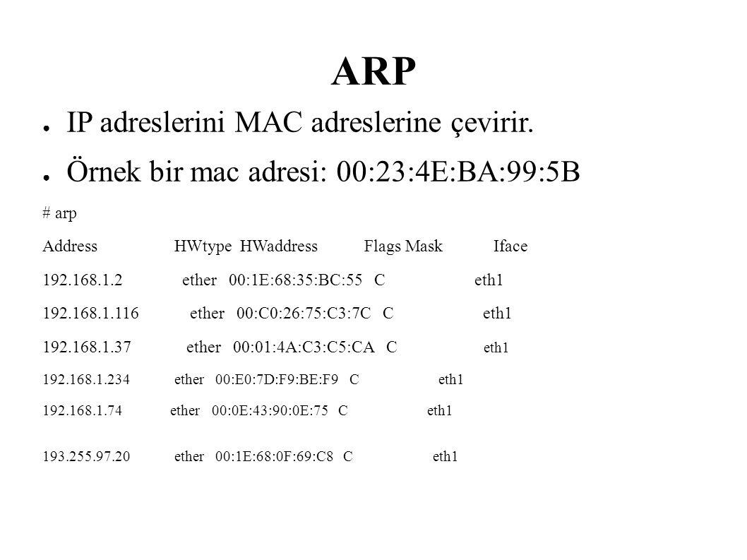 ARP ● IP adreslerini MAC adreslerine çevirir. ● Örnek bir mac adresi: 00:23:4E:BA:99:5B # arp Address HWtype HWaddress Flags Mask Iface 192.168.1.2 et