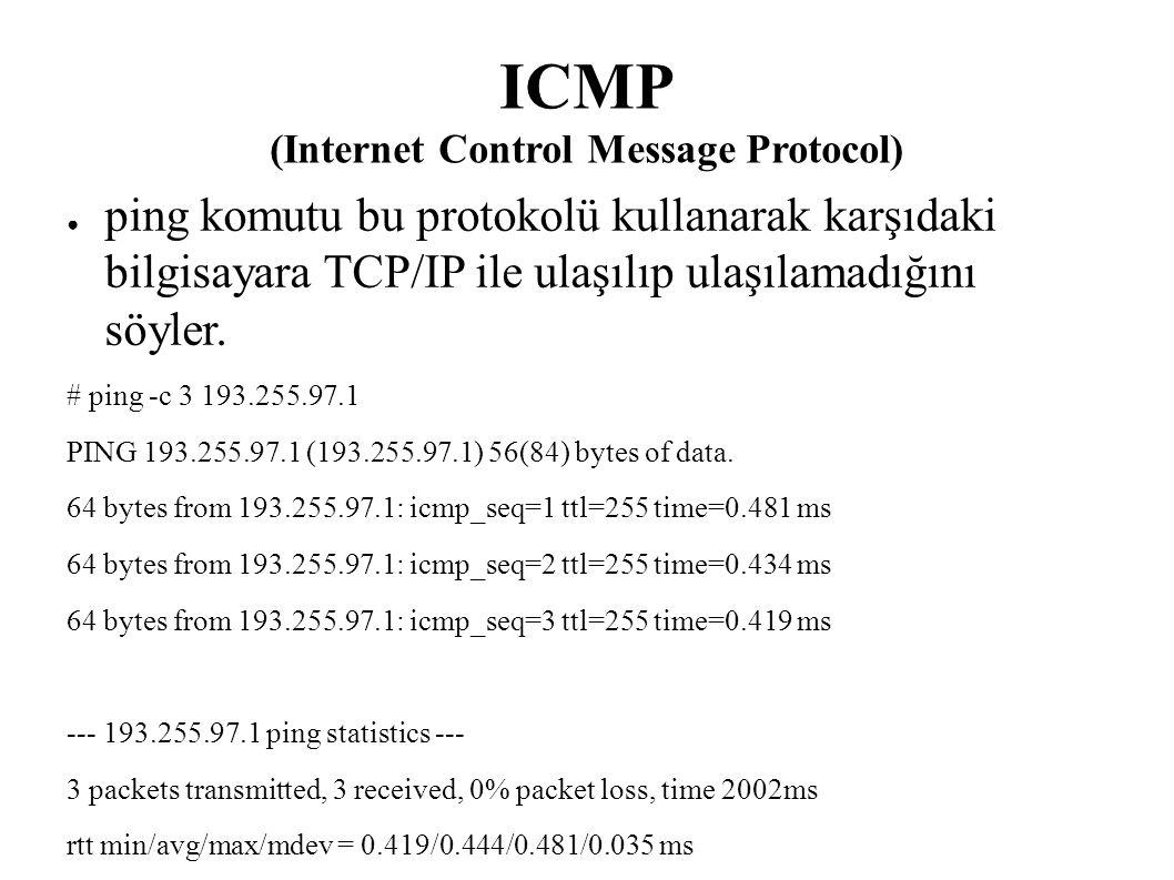 ICMP (Internet Control Message Protocol) ● ping komutu bu protokolü kullanarak karşıdaki bilgisayara TCP/IP ile ulaşılıp ulaşılamadığını söyler. # pin