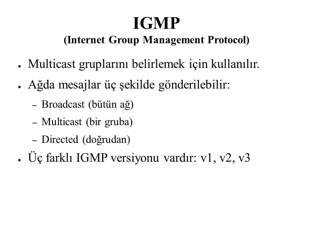 IGMP (Internet Group Management Protocol) ● Multicast gruplarını belirlemek için kullanılır. ● Ağda mesajlar üç şekilde gönderilebilir: – Broadcast (b