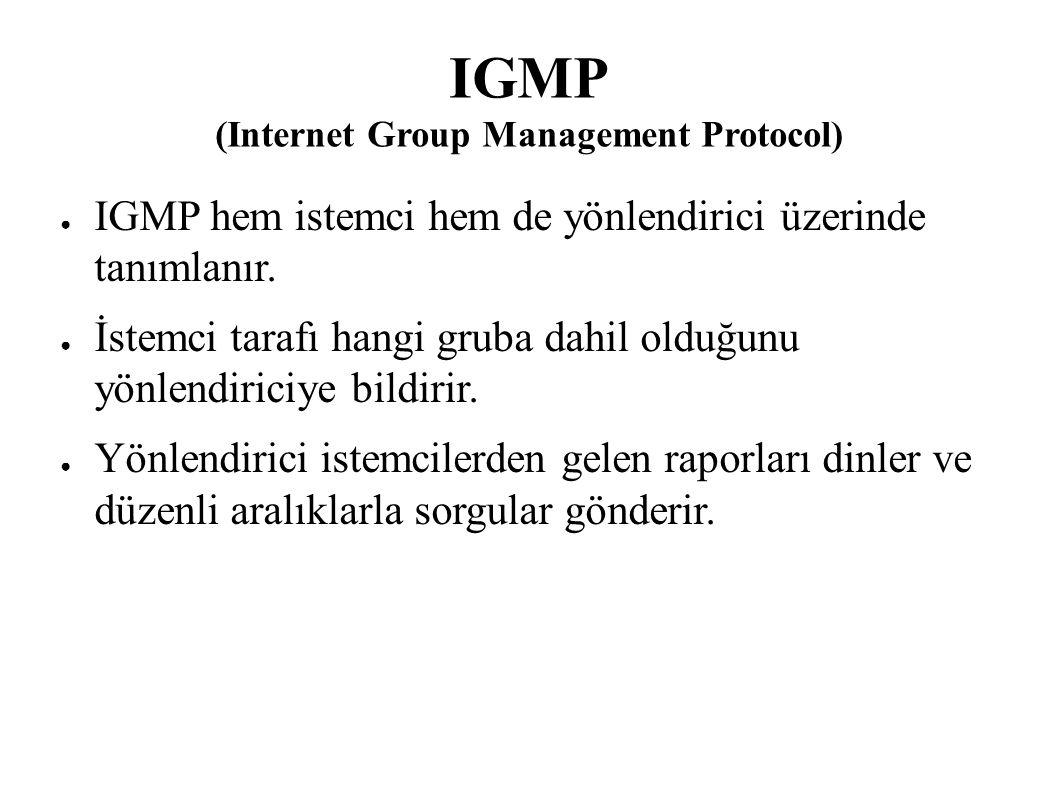IGMP (Internet Group Management Protocol) ● IGMP hem istemci hem de yönlendirici üzerinde tanımlanır. ● İstemci tarafı hangi gruba dahil olduğunu yönl