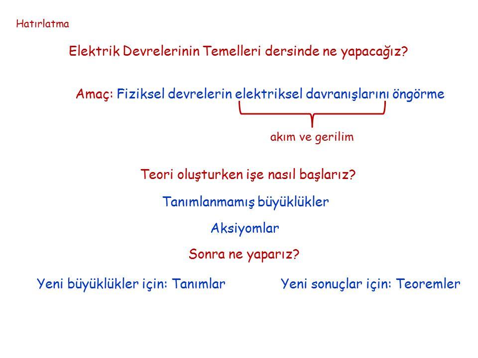Elektrik Devre Teorisi Tanımlanmamış büyüklükler Akım Gerilim i(t) [A] v(t) [V] Hatırlatma İ 1 (t) + _ v 1 (t) 1 2 uyumlu çift