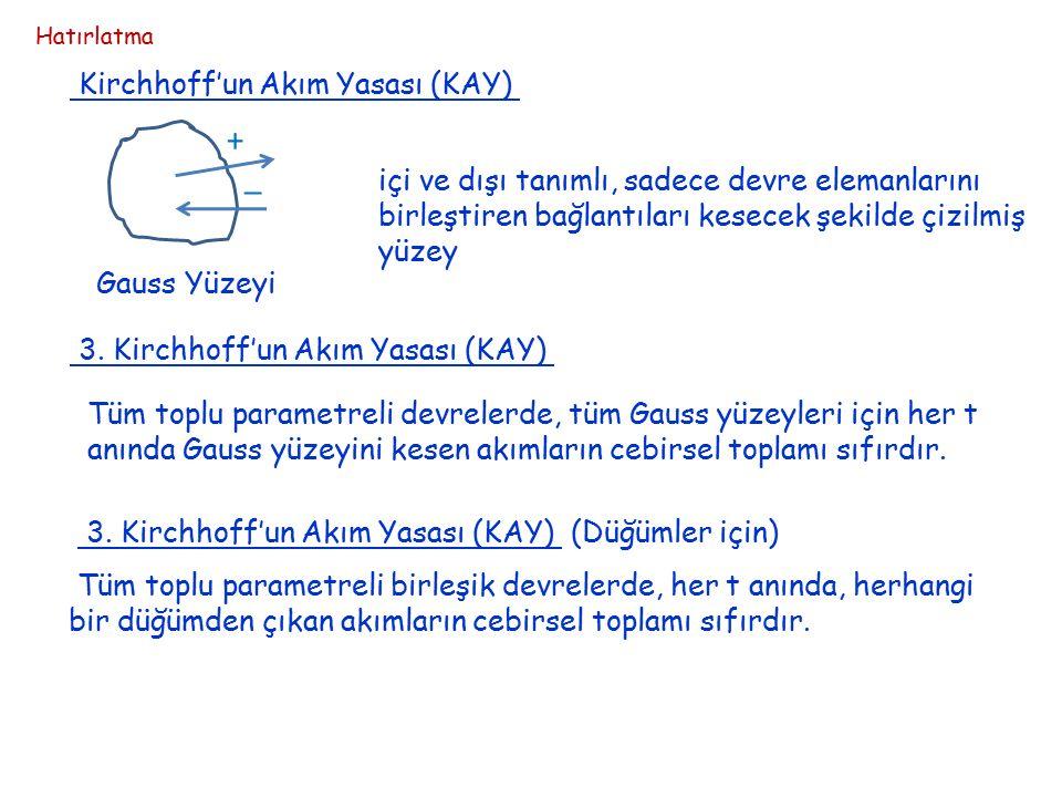 KAY ve KGY toplu parametreli devrelerde geçerli KAY ve KGY elemanların özelliklerinden bağımsız KAY ve KGY ile elde edilen denklemler katsayıları 1,-1,0 olan lineer lineer, cebrik, homojen denklemler