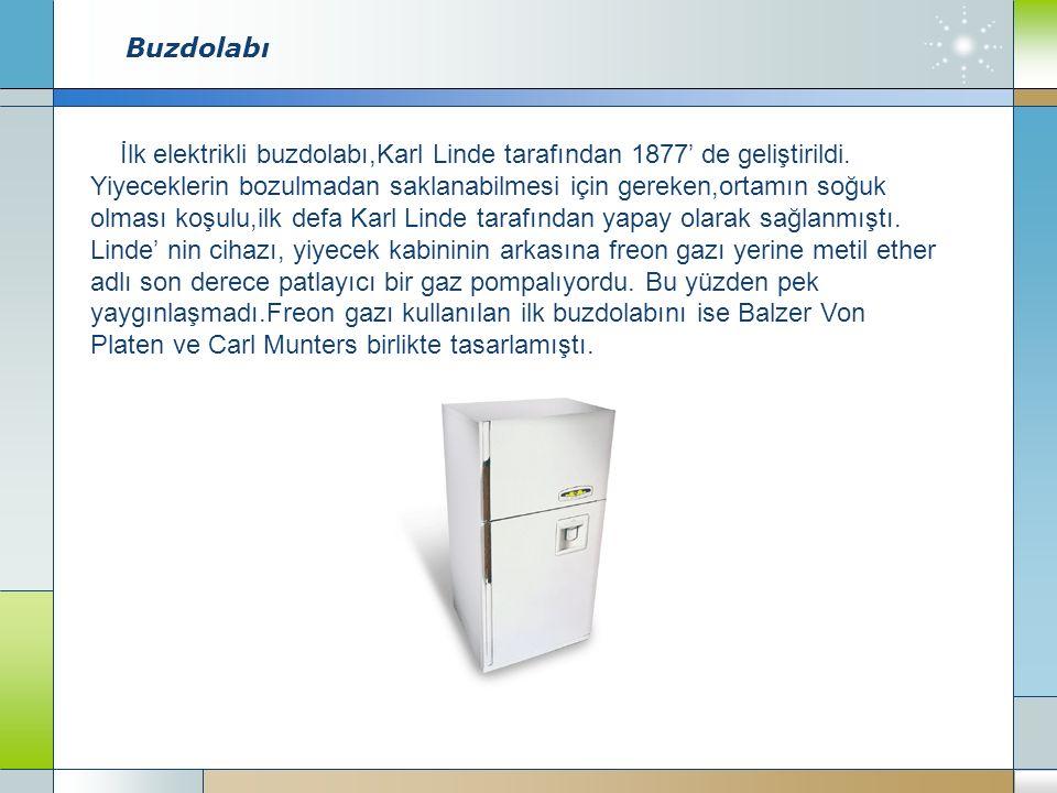 Buzdolabı İlk elektrikli buzdolabı,Karl Linde tarafından 1877' de geliştirildi.