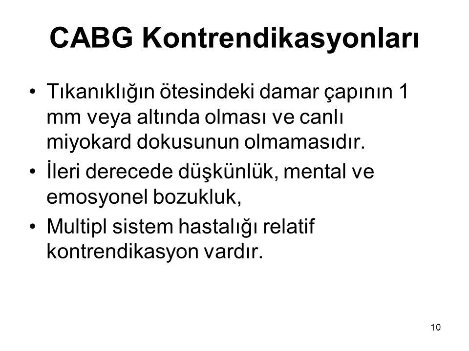 10 CABG Kontrendikasyonları Tıkanıklığın ötesindeki damar çapının 1 mm veya altında olması ve canlı miyokard dokusunun olmamasıdır.
