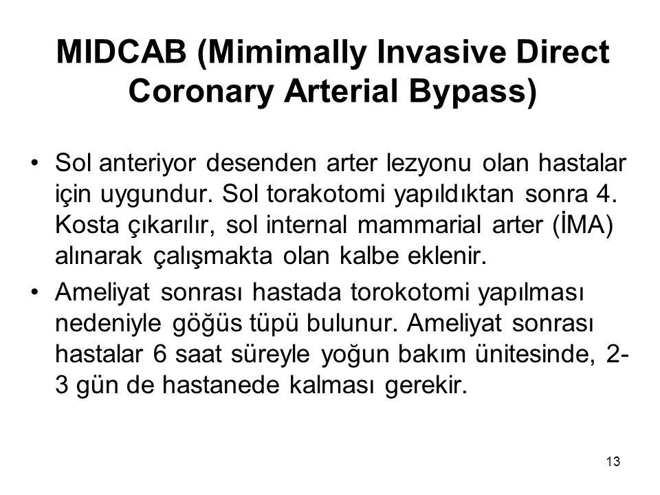13 MIDCAB (Mimimally Invasive Direct Coronary Arterial Bypass) Sol anteriyor desenden arter lezyonu olan hastalar için uygundur.