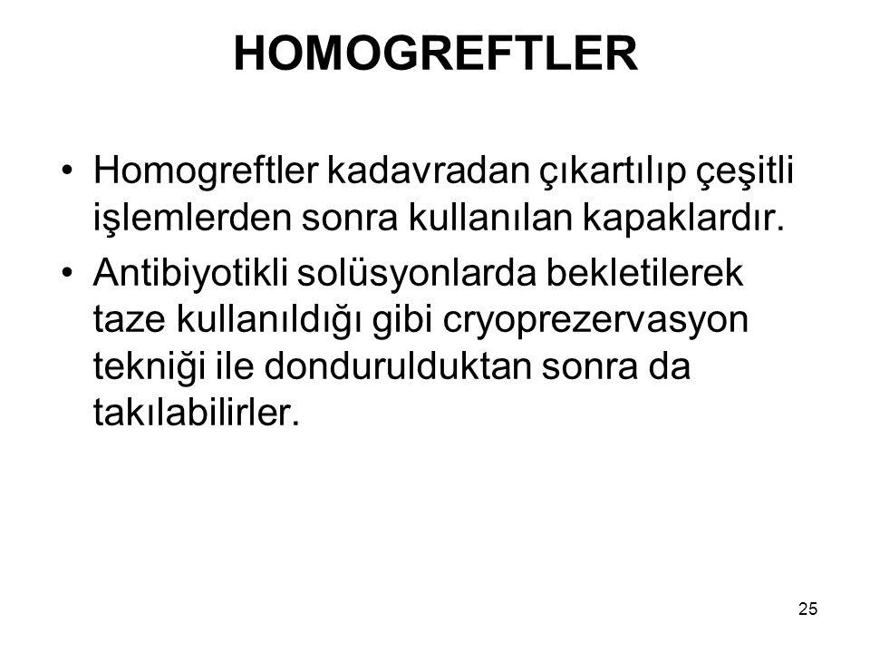25 HOMOGREFTLER Homogreftler kadavradan çıkartılıp çeşitli işlemlerden sonra kullanılan kapaklardır.