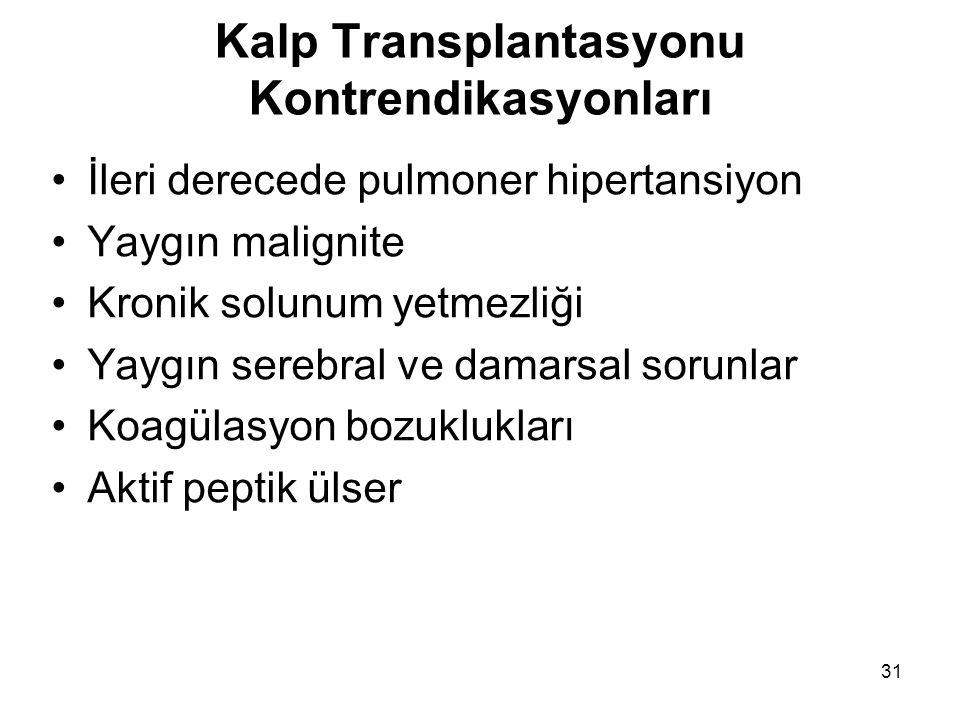 31 Kalp Transplantasyonu Kontrendikasyonları İleri derecede pulmoner hipertansiyon Yaygın malignite Kronik solunum yetmezliği Yaygın serebral ve damarsal sorunlar Koagülasyon bozuklukları Aktif peptik ülser