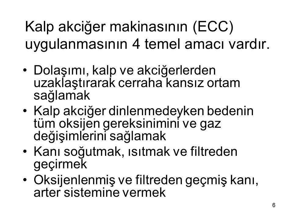 6 Kalp akciğer makinasının (ECC) uygulanmasının 4 temel amacı vardır.