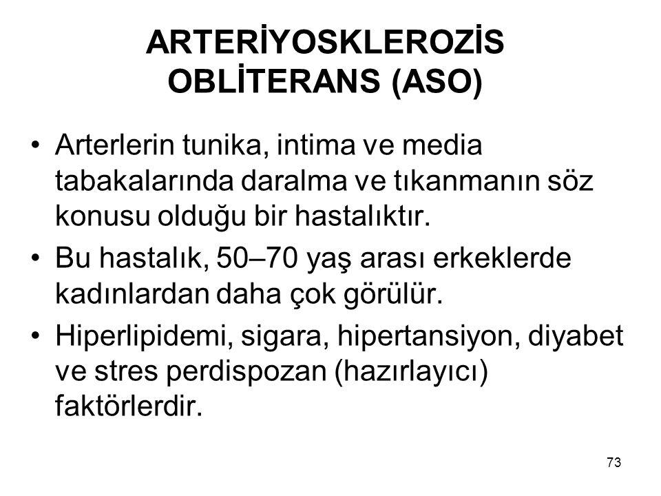 73 ARTERİYOSKLEROZİS OBLİTERANS (ASO) Arterlerin tunika, intima ve media tabakalarında daralma ve tıkanmanın söz konusu olduğu bir hastalıktır.
