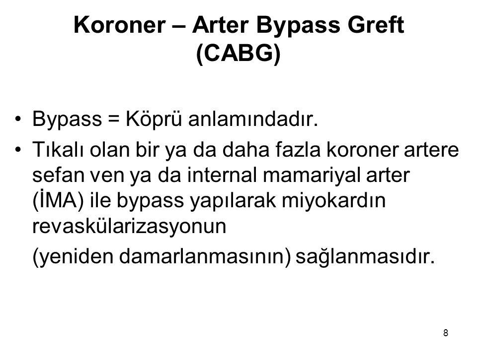 8 Koroner – Arter Bypass Greft (CABG) Bypass = Köprü anlamındadır.