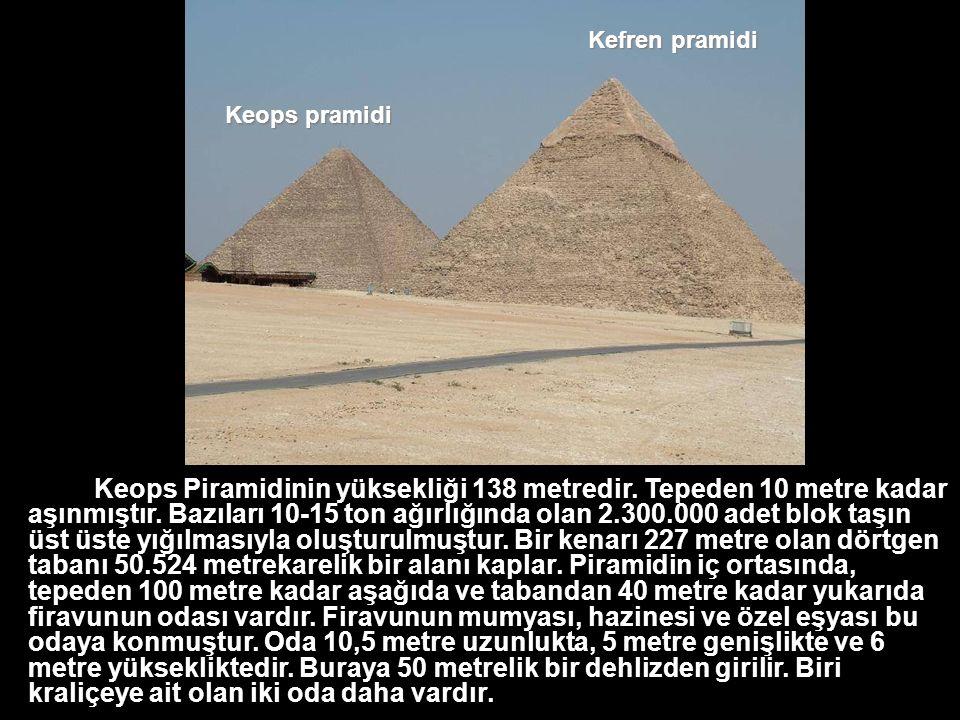Keops Piramidinin yüksekliği 138 metredir.Tepeden 10 metre kadar aşınmıştır.
