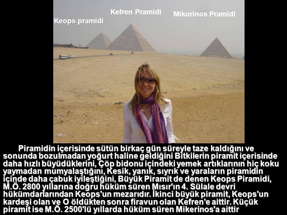 Keops Piramidinin yüksekliği 138 metredir. Tepeden 10 metre kadar aşınmıştır. Bazıları 10-15 ton ağırlığında olan 2.300.000 adet blok taşın üst üste y