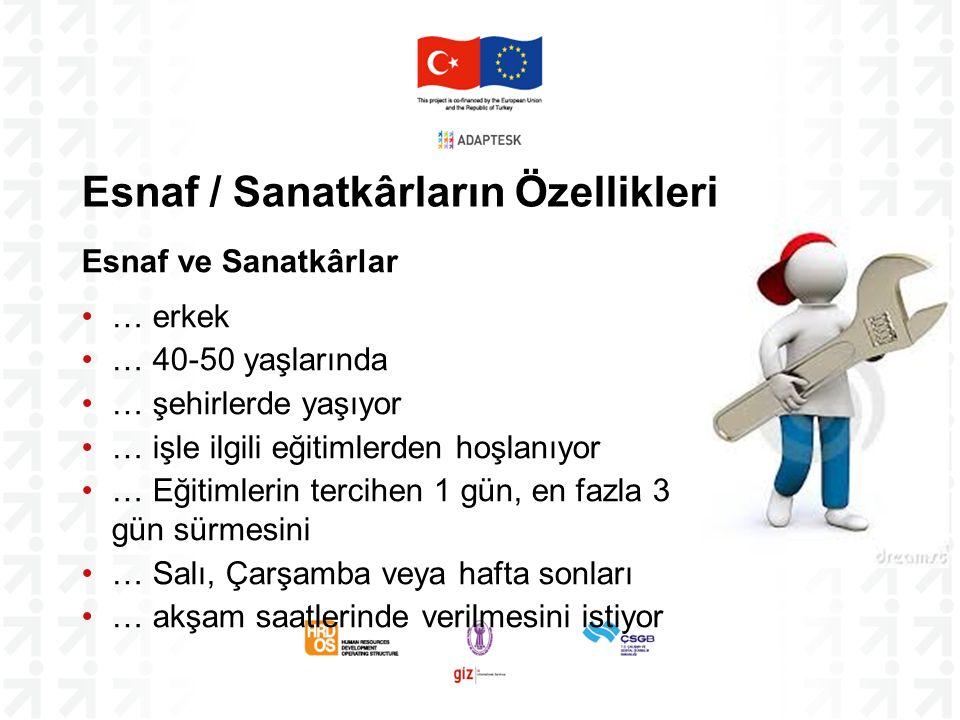 Bulguların Özeti (1) Proje kapsamında hedeflenen 23.250 E&S'ye ulaşmak için Birlik ve Federasyonların üyelerinin yaklaşık %10'unu mobilize etmeleri gerekmektedir – bu rakam Birlikler için oldukça yüksektir Ankara'da Mesleki Eğitim Merkezleri bulunmaktadır – bu merkezler kullanılmalıdır Bütün eğitimler talebe dayalı, kısa ve esnek olmalıdır.