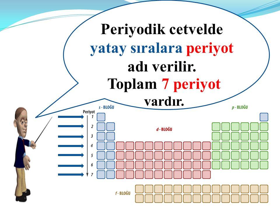 Periyodik cetvelde yatay sıralara periyot adı verilir. Toplam 7 periyot vardır.