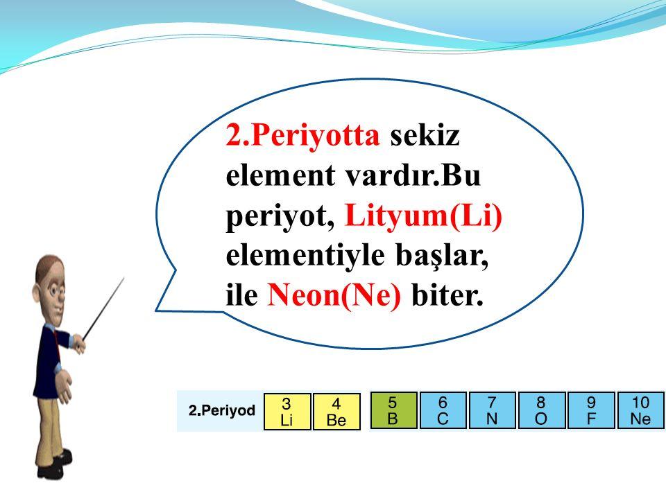 2.Periyotta sekiz element vardır.Bu periyot, Lityum(Li) elementiyle başlar, ile Neon(Ne) biter.
