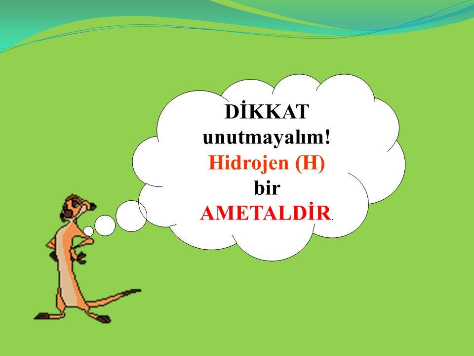 DİKKAT unutmayalım! Hidrojen (H) bir AMETALDİR.