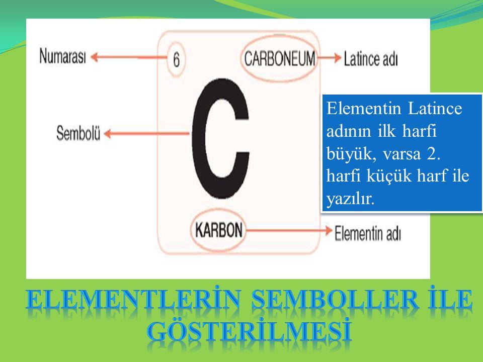 Elementin Latince adının ilk harfi büyük, varsa 2. harfi küçük harf ile yazılır.
