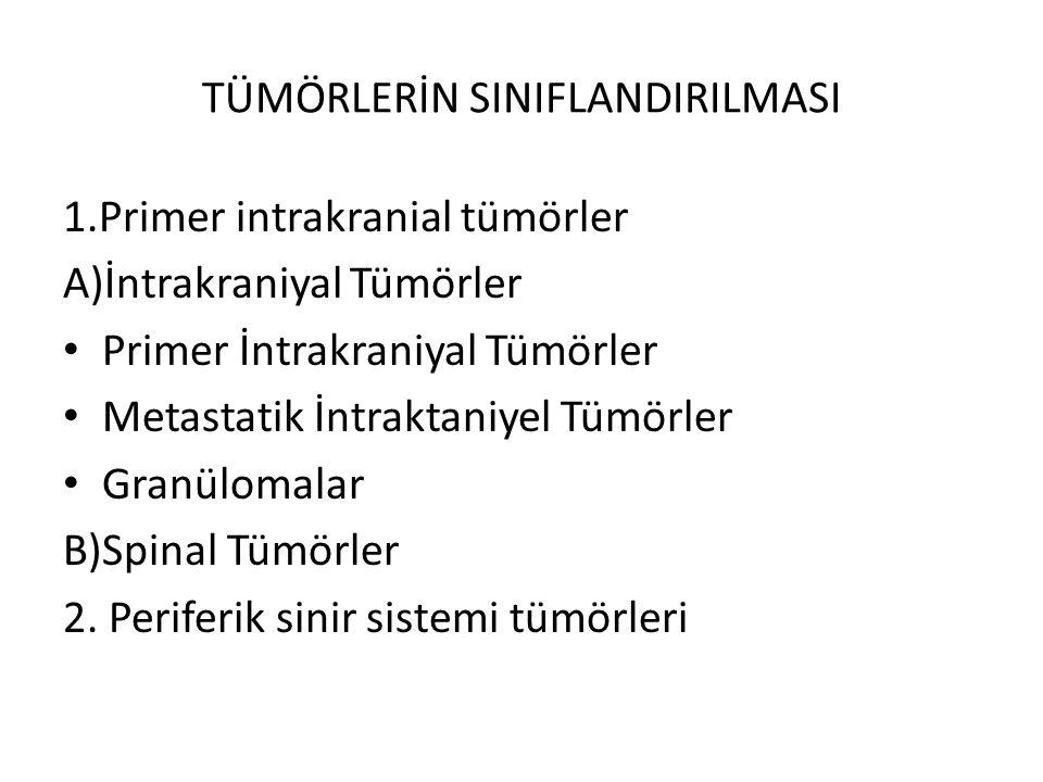 TÜMÖRLERİN SINIFLANDIRILMASI 1.Primer intrakranial tümörler A)İntrakraniyal Tümörler Primer İntrakraniyal Tümörler Metastatik İntraktaniyel Tümörler G
