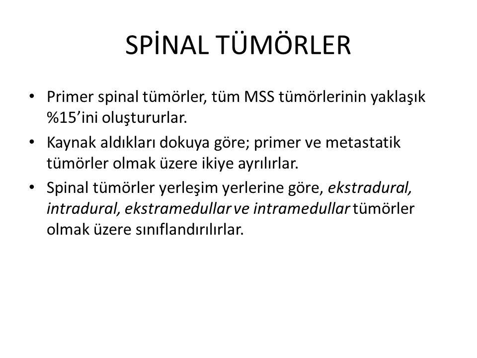 SPİNAL TÜMÖRLER Primer spinal tümörler, tüm MSS tümörlerinin yaklaşık %15'ini oluştururlar. Kaynak aldıkları dokuya göre; primer ve metastatik tümörle