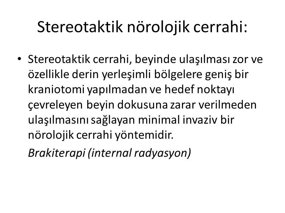 Stereotaktik nörolojik cerrahi: Stereotaktik cerrahi, beyinde ulaşılması zor ve özellikle derin yerleşimli bölgelere geniş bir kraniotomi yapılmadan v