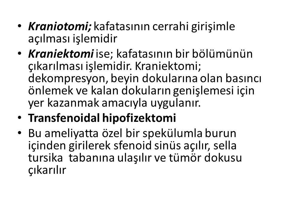 Kraniotomi; kafatasının cerrahi girişimle açılması işlemidir Kraniektomi ise; kafatasının bir bölümünün çıkarılması işlemidir. Kraniektomi; dekompresy