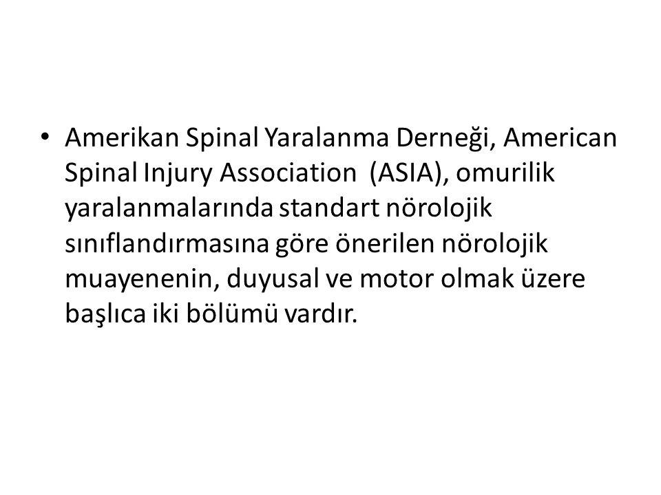 Amerikan Spinal Yaralanma Derneği, American Spinal Injury Association (ASIA), omurilik yaralanmalarında standart nörolojik sınıflandırmasına göre öner