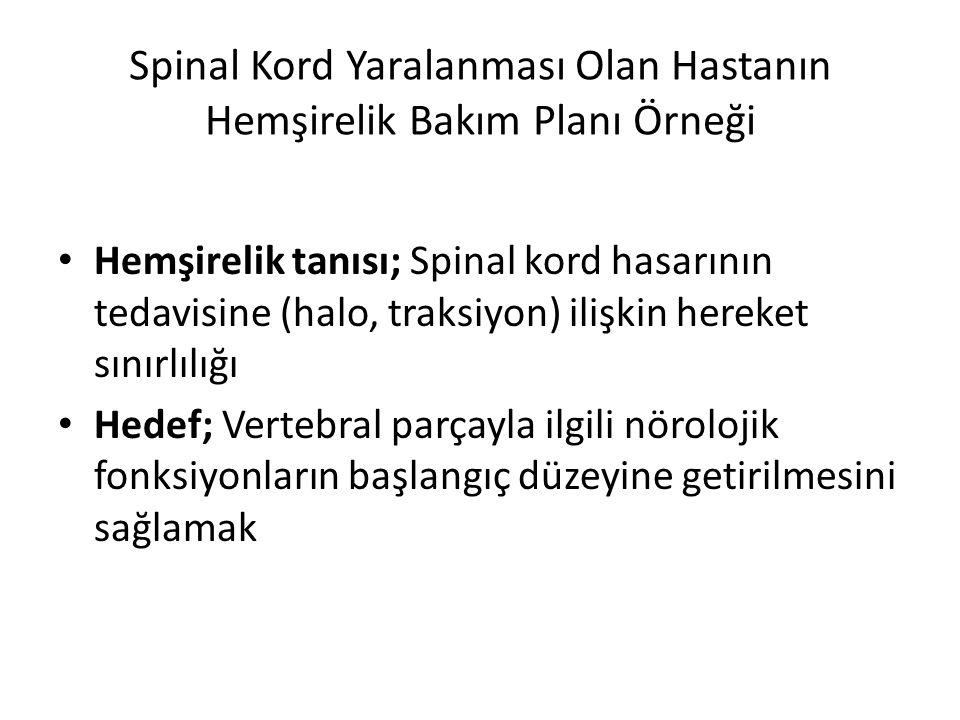 Spinal Kord Yaralanması Olan Hastanın Hemşirelik Bakım Planı Örneği Hemşirelik tanısı; Spinal kord hasarının tedavisine (halo, traksiyon) ilişkin here