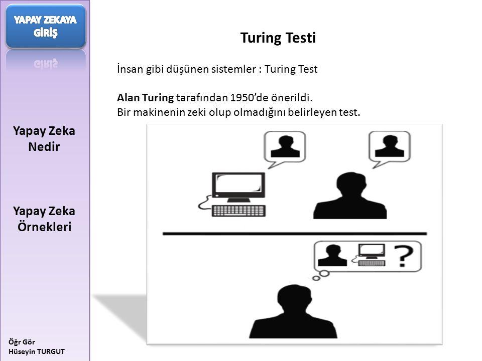 Yapay Zeka Nedir Yapay Zeka Örnekleri Öğr Gör Hüseyin TURGUT Turing Testi İnsan gibi düşünen sistemler : Turing Test Alan Turing tarafından 1950'de ön