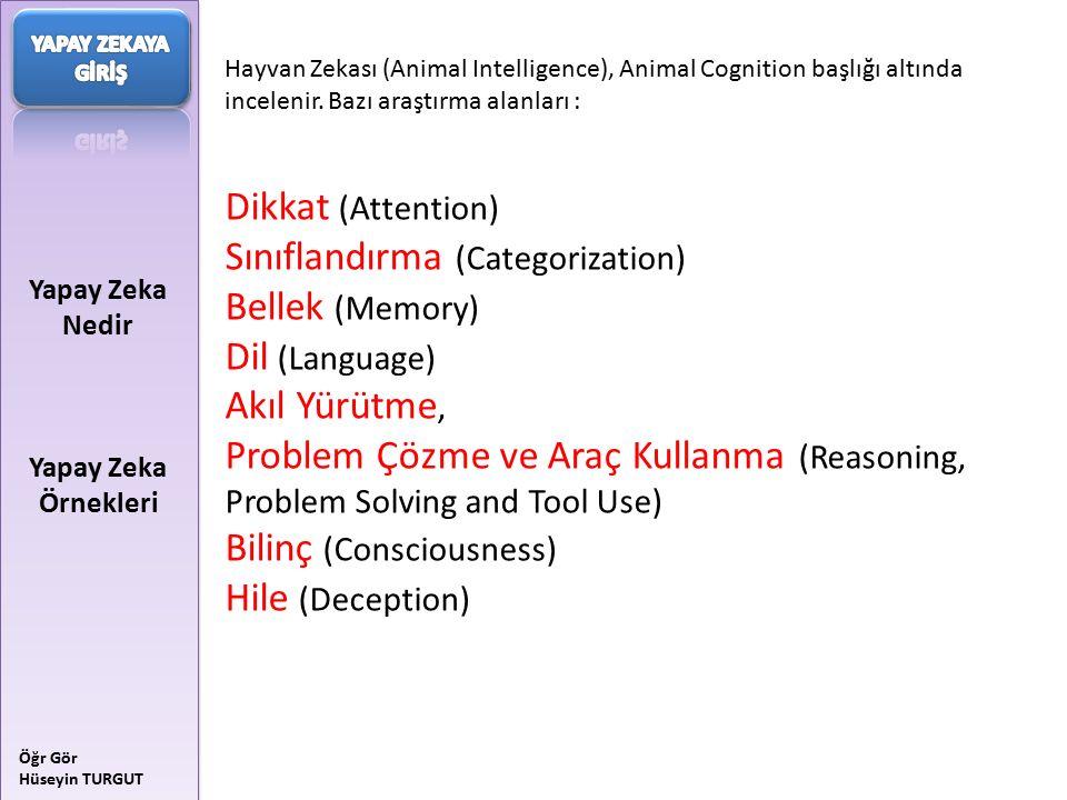 Yapay Zeka Nedir Yapay Zeka Örnekleri Öğr Gör Hüseyin TURGUT Hayvan Zekası (Animal Intelligence), Animal Cognition başlığı altında incelenir. Bazı ara