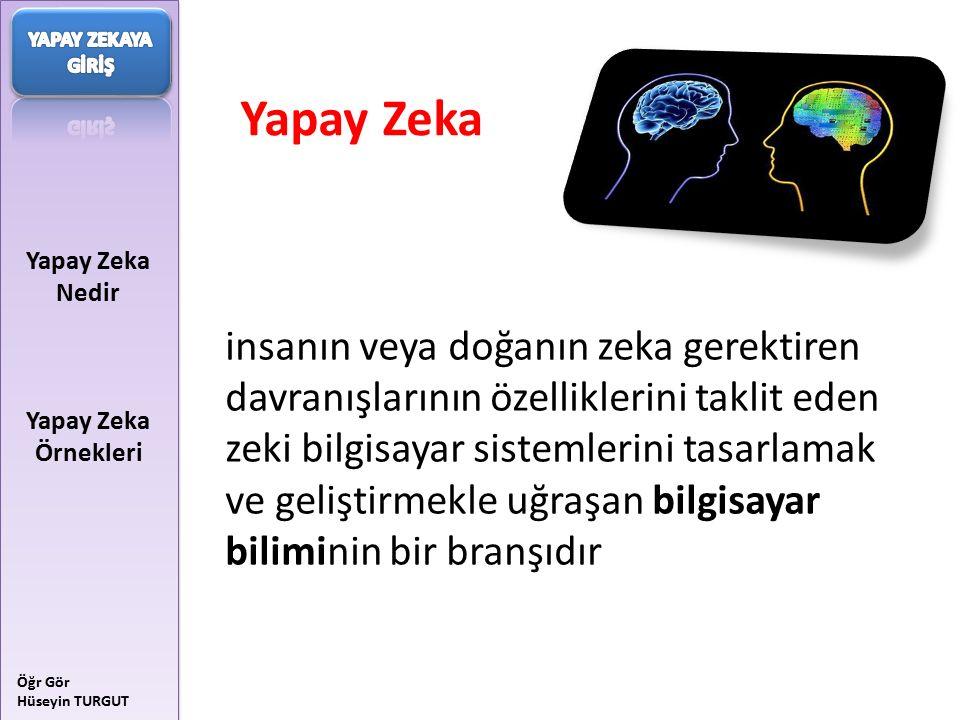 Yapay Zeka Nedir Yapay Zeka Örnekleri Öğr Gör Hüseyin TURGUT Yapay Zeka'nın Temel Konuları : Bilgi Gösterimi (Knowledge Representation) Çıkarsama (Inference) Öğrenme (Learning)