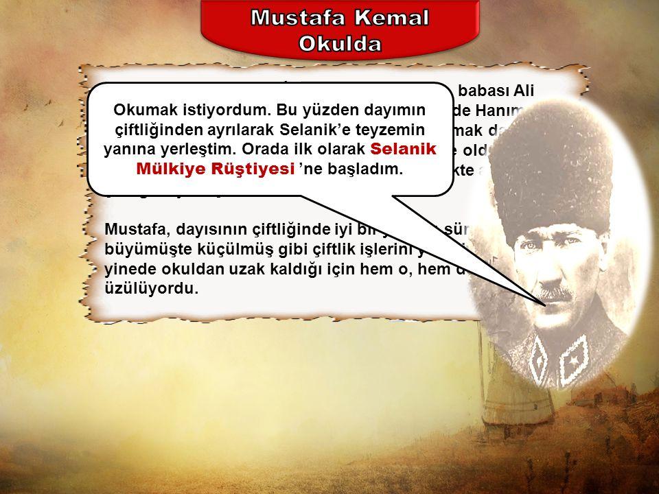Mustafa, Şemsi Efendi İlkokulu'nda okurken, babası Ali Rıza Efendi'nin ölümü aileyi yıkmıştır.