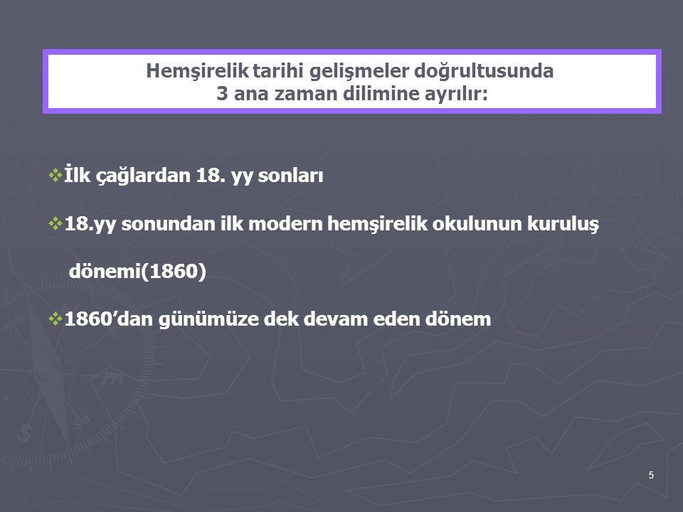 5 Hemşirelik tarihi gelişmeler doğrultusunda 3 ana zaman dilimine ayrılır:  İlk çağlardan 18. yy sonları  18.yy sonundan ilk modern hemşirelik okulu