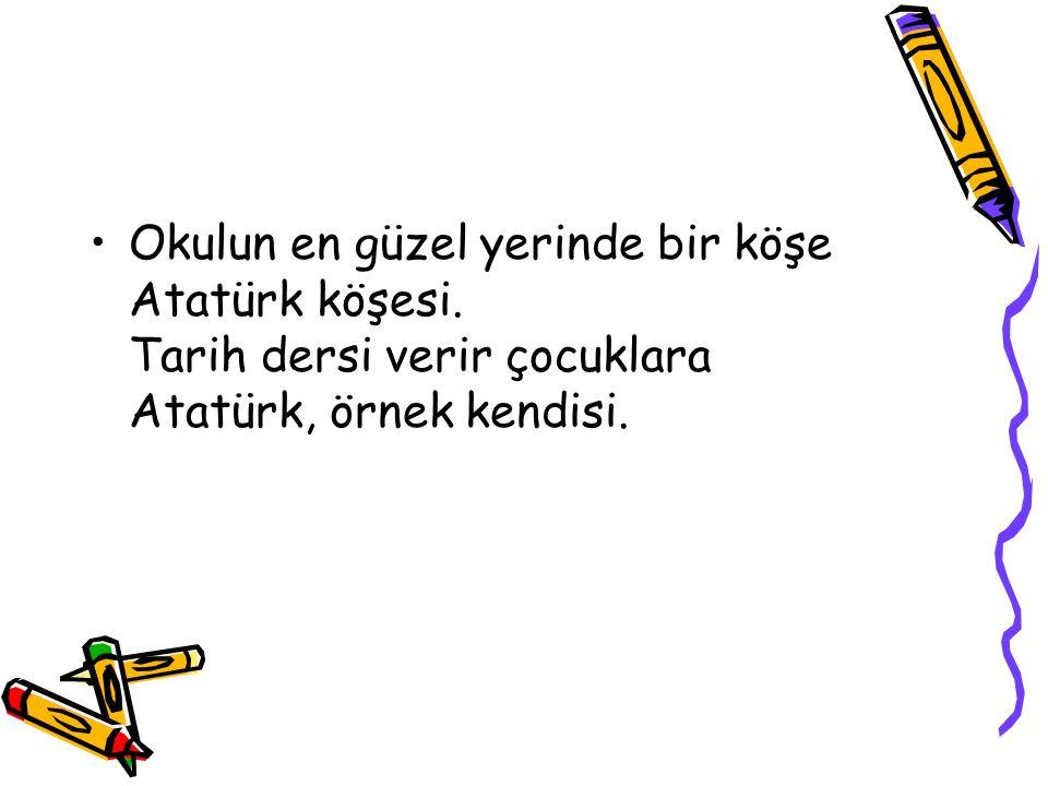 Her sabah dersliklerde Ant içerler Atatürk ün resmine karşı.
